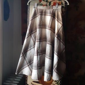 Vintage Wool Plaid Midi Skirt XS S